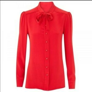 Marc by Marc Jacobs Red Silk Bow Tie Blouse